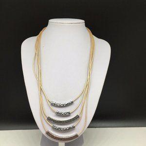 Lia Sophia Beige Leather Silver Pendant Necklace